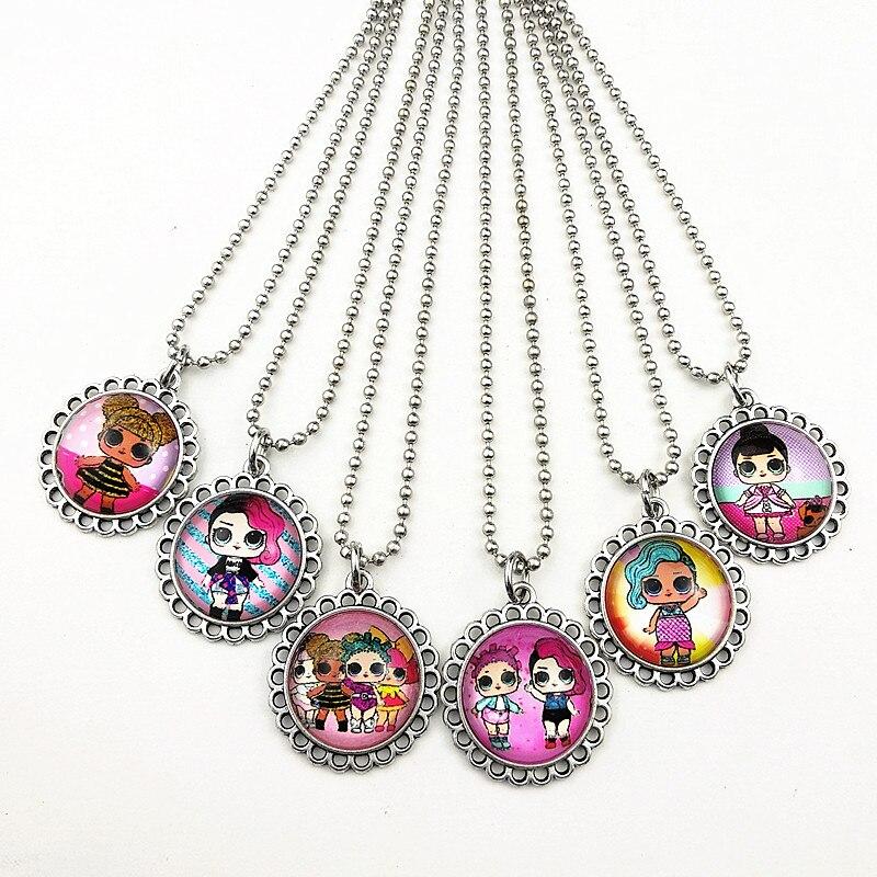24 шт новые стили мультфильм кукла красочные бусы стеклянные браслеты ожерелье брелок кольцо серьги ювелирные изделия серии для девочек - Окраска металла: Синий