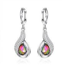 New Fashion Women Drop Earrings Jewelry Colorful Water Zircon Dangle Girl Gifts Oorbellen Orecchini Brincos WD573