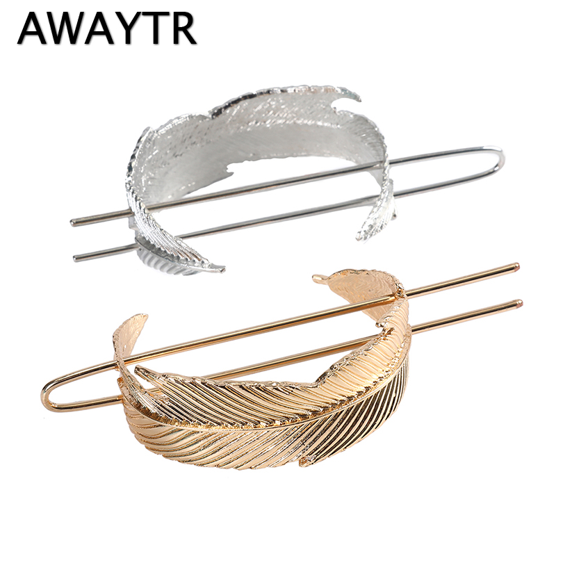 AWAYTR Original Feather Bun Cuff Vintage Leaf Hair Stick Set Set Women Unique Wedding Hair Accessories Retro Hair Pins Femme