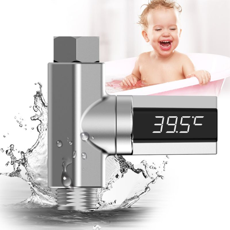 LED Display Water Flow Temperature Meter Monitor Electric Shower Thermometer 360