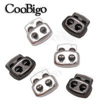 100pcs Black/Silver 3.5mm Hole Plastic Bean Cord Lock Stopper Toggle Clip Apparel Shoelace