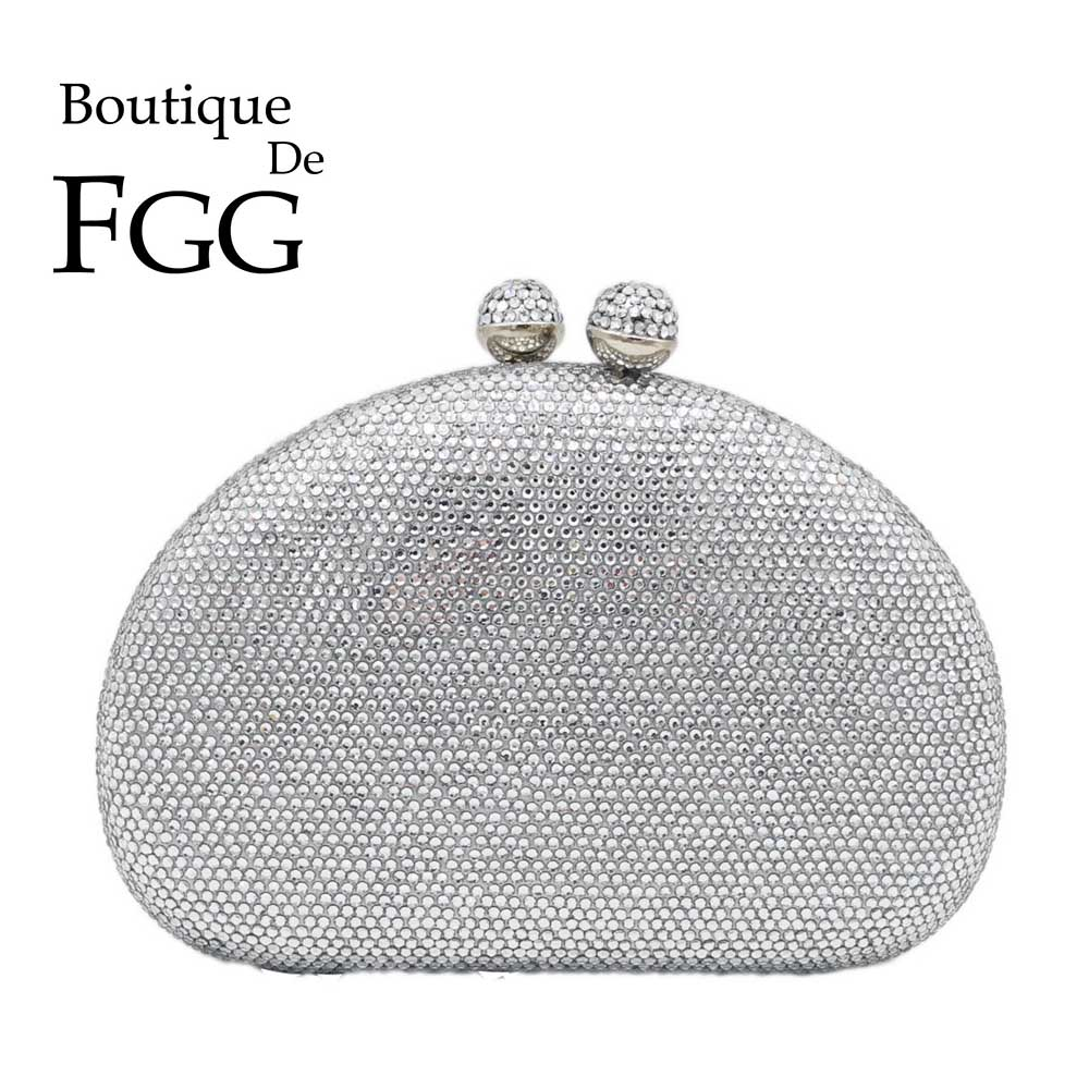 Boutique De FGG Elegant Silver Women Evening Bags And Clutches Hard Case Wedding Party Bridal Crystal Purses And Handbags