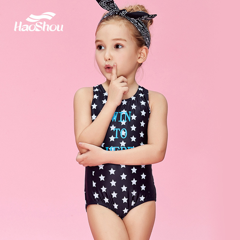 Girls Princess One-piece Swimming Suit HaoShou Profession Learn Swimming GIRL'S Big Boy Hot Springs One-piece Triangle Swimwear
