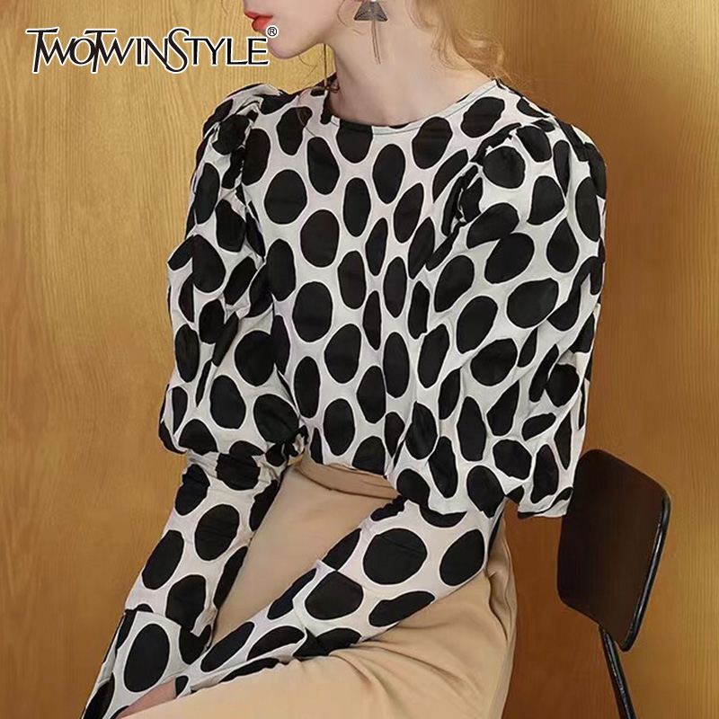 TWOTWINSTYLE Polka Dot Women's Blouse Lantern Long Sleeve O Neck Shirts Female 2019 Autumn Oversized Fashion New Ladies OL Style