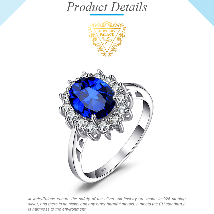 H00b6efdef94d4794a41d095f0f7b4dd60 JewPalace Princess Diana Created Sapphire Ring 925 Sterling Silver Rings for Women Engagement Ring Silver 925 Gemstones Jewelry