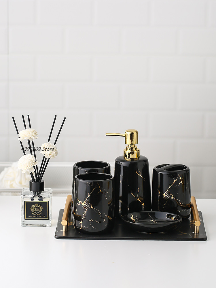 Marble Bathroom Decoration Accessories Toothbrush Holder Mouth Cup Ceramic Tray Toothpaste Dispenser Soap Dish Household Goods Bathroom Accessories Sets Aliexpress