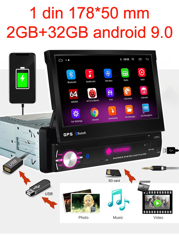 Navigation-Player Radio-Wifi Car Bluetooth 1din Universa Android 9.0 Quad-Core GPS MP5