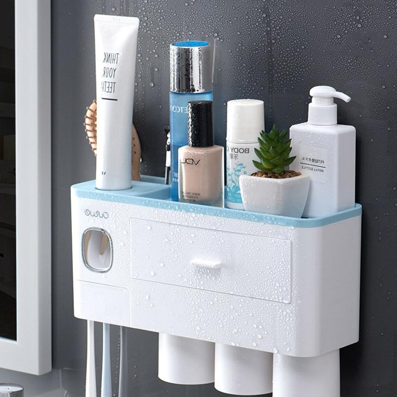Магнитная чашка настенное крепление туалетные принадлежности стеллаж для хранения Новый держатель зубной щетки автоматический диспенсер ...