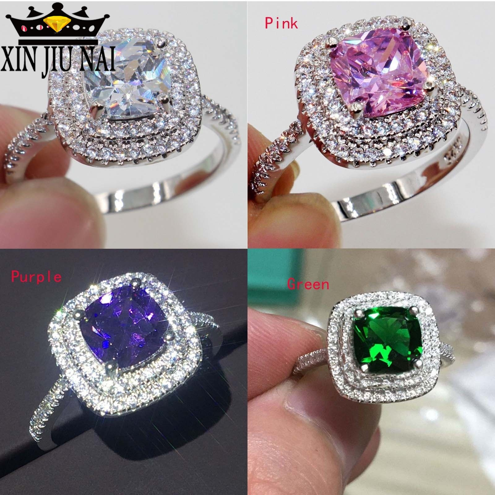 4 Colors Cut 8mm AAAAA Zircon Cz 925 Anillos Silver Women Wedding Ring Engagement Band /Pink/Purple Color Exquisite Bijoux 6-10