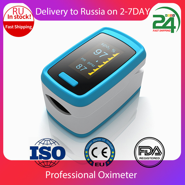 Digital Thermometer Fingertip Pulse Oximeter Finger Blood Oxygen Sensor Saturation SpO2 Heart Rate MonitorMeter Random color