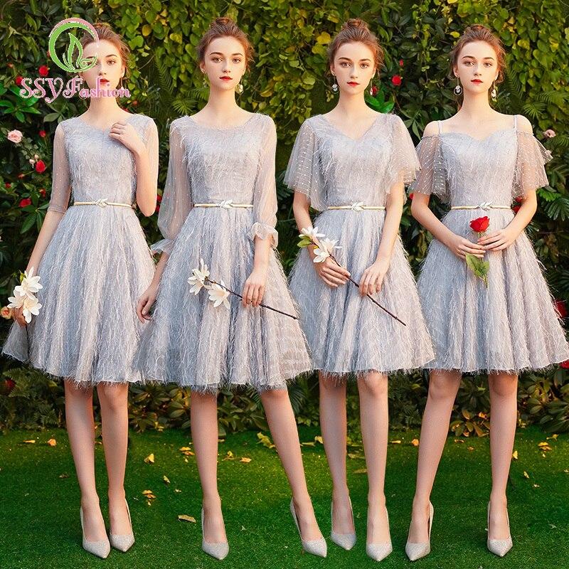 SSYfashion Elegant Grey Bridesmaid Dress Lace Up Back Knee-Length Tulle Lace Short Bridesmaid Dresses Custom Wedding Party Prom