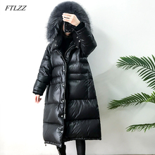 FTLZZ Large Real Natural Raccoon Fur Winter Women Down Jacket Long Thick Warm Coat White Duck Down Jacket Female Oversize