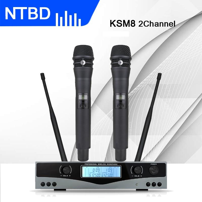 NTBD Hip Hop accueil KTV fête scène Performance mariage UHF SKM8 professionnel double système de Microphone sans fil 2 canaux 2 portable