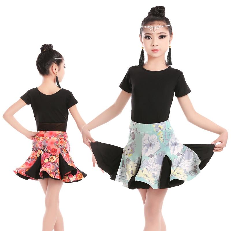 Girls Printing Latin Dance Dress Children Teenager Salsa Rumba Latin Dance Skirt Suit Kids Dance Leotard With Skirt Sets