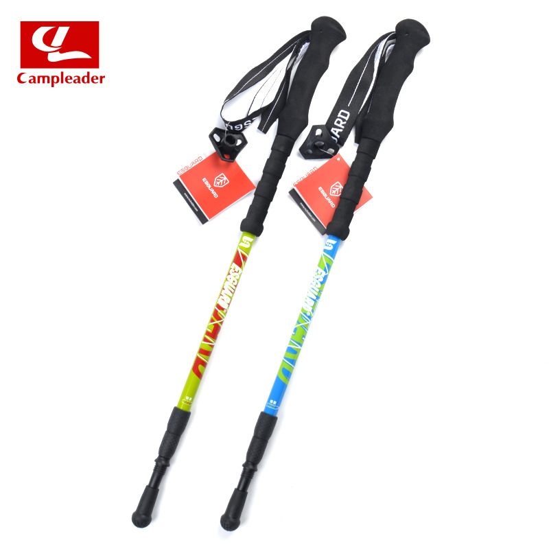 Outdoor Thick Carbon Fiber Retractable Alpenstock Three-section Mountain Climbing Ski Poles Hiking Rod Crutches Hiking Stick