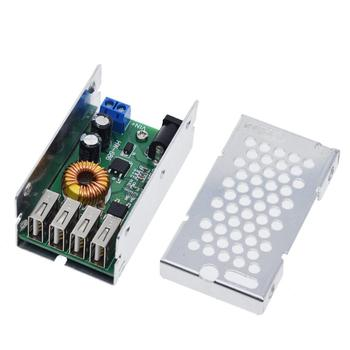 DC-DC 9V 12V 24V 36V To 5V Step Down Board 5A 4 USB Output Buck Converter Power Supply Module with Aluminum Shell For Cars dc dc 5a 4usb output step down buck converter 7 60v to 5v adjustable power supply module with case voltage transformer module