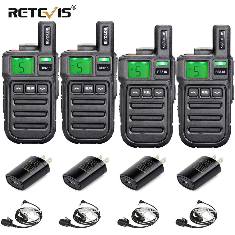 4pcs Retevis RB615/RB15 Mini PMR Walkie Talkie PMR446 PMR 446 Radio VOX Handsfree Two Way Radio with Vibration Wireless Cloning