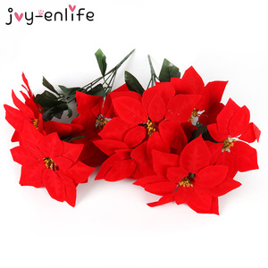 1pcs Real Touch Flannel Artificial Big Red Flowers Head Bouquet Christmas Red Poinsettia Bushes Bouquets Christmas Tree Ornament