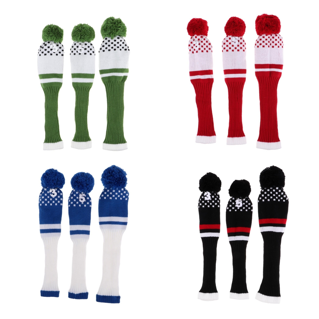 3Pcs Golf Club Headcover Set Vintange Pom Pom Sock Covers With Number Tags (#1 #3 #5) - Choose Colors