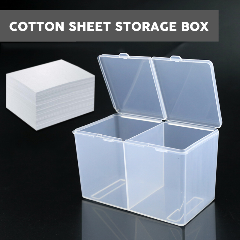 Double Grids Transparent Cotton Sheet Storage Box Make-up Cotton Pad Box Cotton Swab Box Tattoo Accessory