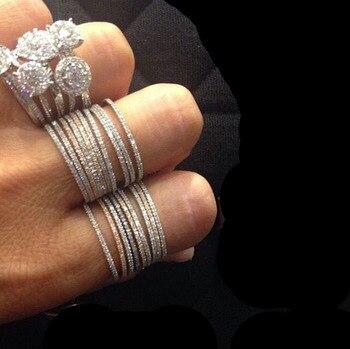 100% de Plata de Ley 925 pura micro pavé cz fina banda de Compromiso 4 colores anillo de eternidad plata apilable juego de anillos