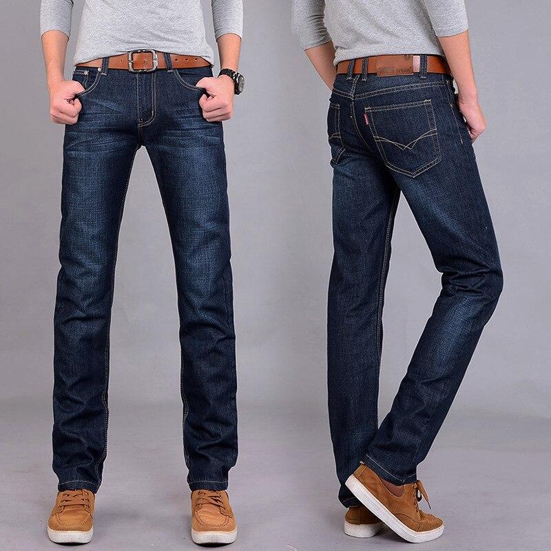 Men's Casual Jeans Slim Fit Straight-Cut Four Seasons Paragraph Medium Waist Men's Trousers Youth Men'S Wear Versatile Long Pant