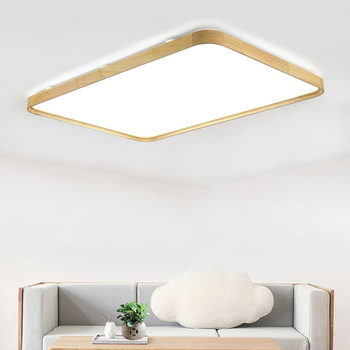 36w Solid Wood Led Ceiling Lamp Ac220v Led Panel Ceiling Lights Remote Control Home Cafe Shopping Mall Led Decoration Light Leather Bag