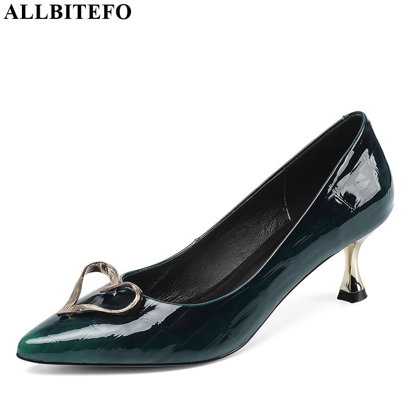 ALLBITEFO Real Genuine Leather Fashion Ladies High Heels Metal Decoration Girl High Thin Heel Shoes Hot Charming Women Shoes