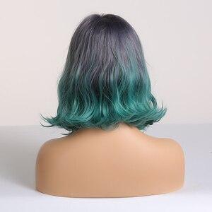 Image 3 - EASIHAIR зеленый Омбре синтетические средней длины натуральные волнистые для женщин Косплей парики короткие волосы боб парики термостойкие