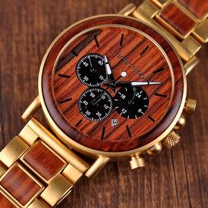 Image 2 - בובו ציפור relogio masculino יוקרה גברים שעון מתכת עץ הכרונוגרף שעוני יד קוורץ שעון מותאם אישית חג המולד מתנה