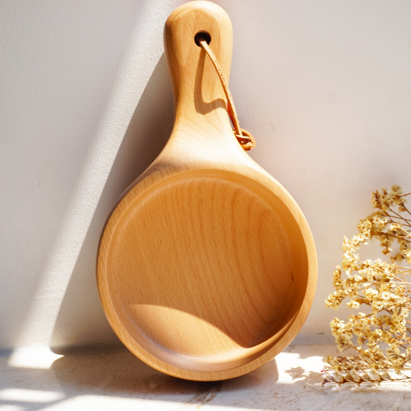 Japanese Style Long Handled Wooden Salad Bowl Wood Large Fruit Pickles Serving Bowl Plate Food Container Kitchen Wooden Utensils (3)