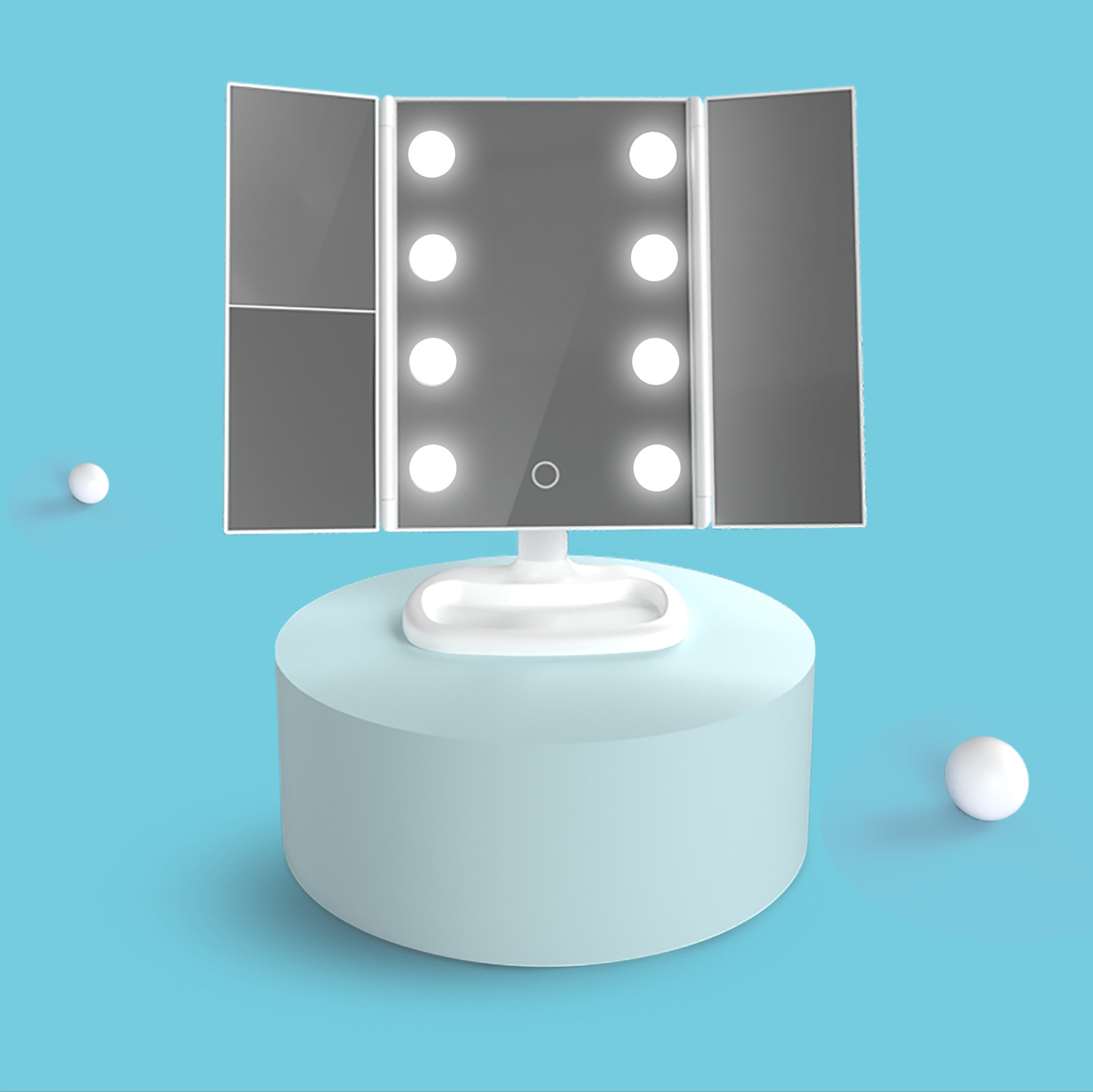 dobrável lâmpada led luminosa compõem espelho lupa