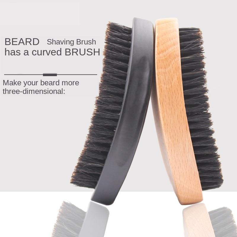 Men's Beard Brush Boar Hair Bristle Beard Brush Round Wood Shaving Comb Face Massage Handmade Mustache Brush Beauty Care G0118