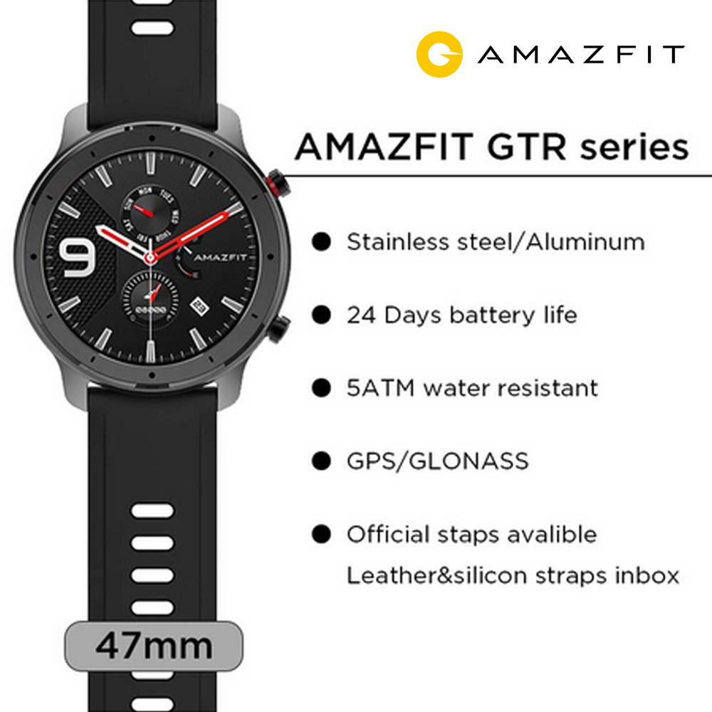 Strava Amazfit GTR 47mm GPS Smart Watch 50ATM Waterproof AMOLED Screen 24Days Standby Compass Fitness Tracker Sports Smartwatch