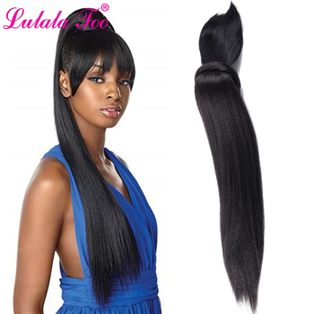 Long Kinky Straight Hair Ponytail Wig With Bangs Fake Hair Bun And Bang Set Synthetic Pony Tail For Women Clip in Hair Extension long side bang straight my little pony lily cosplay wig