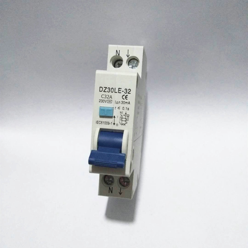 RCBO 1P+N 32A 16A 6KA Residual Current Circuit Breaker Over Current Leakage Protection 18mm Compact RCD DZ47LE-T1