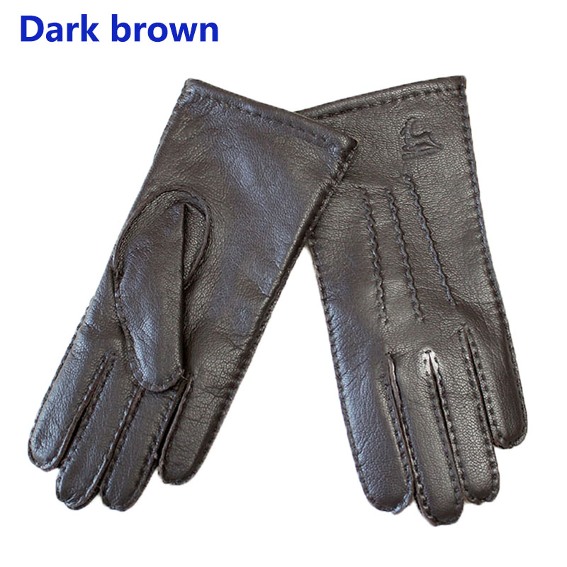 Image 4 - Deerskin gloves women's thin wool lining hand stitched autumn warm outdoor travel black ladies driving leather gloves-in Women's Gloves from Apparel Accessories