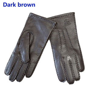 Image 3 - Deerskin gloves womens thin wool lining hand stitched autumn warm outdoor travel black ladies driving leather gloves