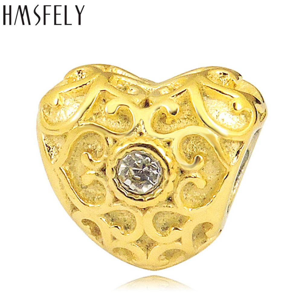 HMSFELY European Crystal Charm Gold Beads For DIY Bracelet Jewelry making Accessories Bead 316l Stainless Steel Heart Shape Bead in Beads from Jewelry Accessories