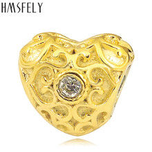 HMSFELY European Crystal Charm Gold Beads For DIY Bracelet Jewelry making Accessories Bead 316l Stainless Steel Heart Shape