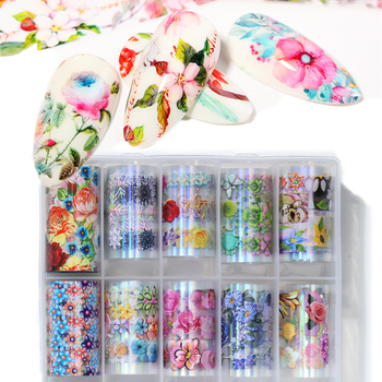 1 Box Nail Foil  Laser Nail Stickers Transfer Decals Colorful Glitter for Nails Art Decoration