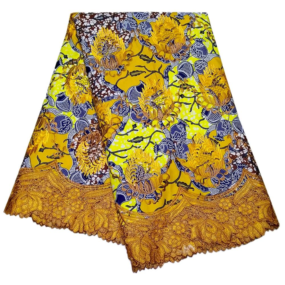 Ankara African Formal Wax Gothic Printed DIY Fabric Nigerian Embroidery Lace Fabric 6Yards\lot