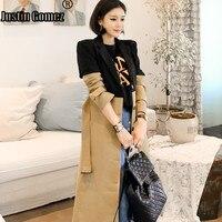 Fall 2019 OL Patchwork Elegant Female Trench Coat Office Lady Slim Woman Cloth Korean Fashion Autumn Long Sleeve Windbreaker