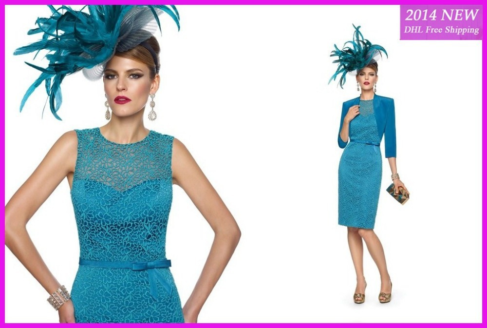 2020 New Arrival Blue Fashion Mother See Through With Jacket Sheath Knee Length Lace Mother Of The Bride Dresses WE-15