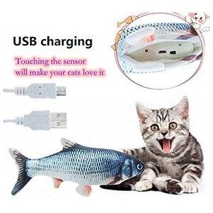Image 3 - ค่าเฉลี่ยปลาของเล่น Catnip สำหรับแมวที่สมจริงตุ๊กตาตุ๊กตาหมอนเคี้ยวกัดของเล่นแมวปลา Flop Cat Wagging ปลาของเล่น Catnip
