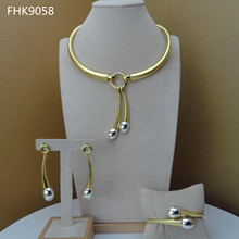 Yuminglai Dubai Gold Jewlery Sets for Women Unique Simple Designs FHK9058