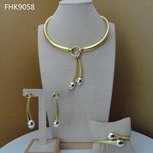 Yuminglai Dubai Vàng Jewlery Bộ Cho Phụ Nữ Độc Đáo Kiểu Dáng Đơn Giản FHK9058