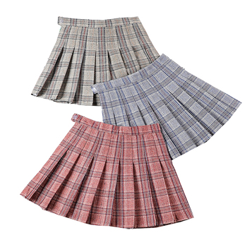 Fashion Summer Women Pleated Skirts  High Waist Plaid Mini Skirt Sweet Cute Female Skirts Harajuku Casual Zipper Pleated Skirt