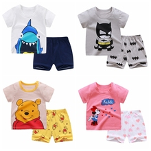 0-4Y Baby Girls Clothing Set Kids Boys Girls Clothes Set Short Sleeves Tshirt Toddler Baby tops + Pants Girls Suit Kids Clothing cheap Active O-Neck Pullover COTTON Unisex REGULAR Fits true to size take your normal size Shorts cartoon
