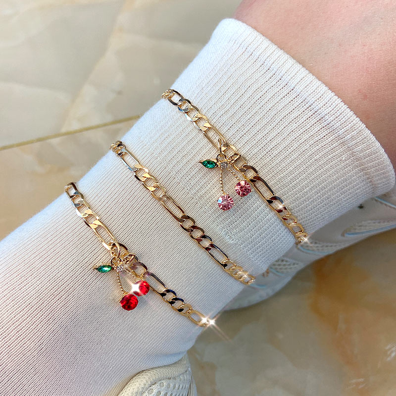 Flatfoosie 2Pcs/Set Fashion Cherry Crystal Anklets Bracelets For Women Simple Gold Color Chain Anklet Summer Beach Jewelry Gift